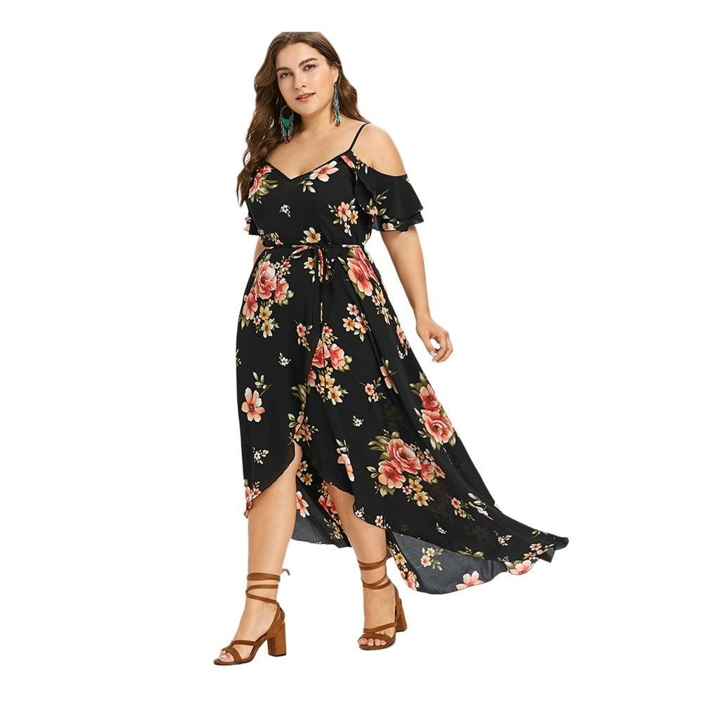 2019 Wipalo Floral Print Women Autumn Maxi Dress Sexy Off Shoulder  Spaghetti Strap Boho Dresse Irregular Hem Plus Size Long Dresses Y19012102  From Xingyan01 ... 1e6aaf7816ec
