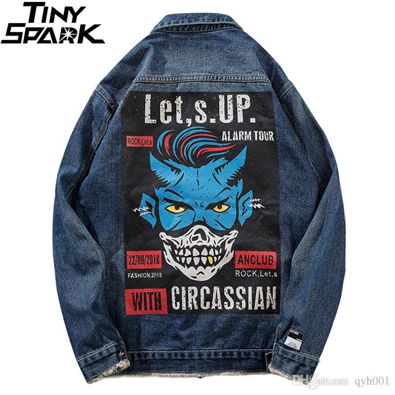feafc1e89 Vintage Back Print Denim Jacket Mens Hip Hop Distressed Jeans Jacket  Streetwear 2018 Ripped Holes Denim Bomber Jacket Hipster
