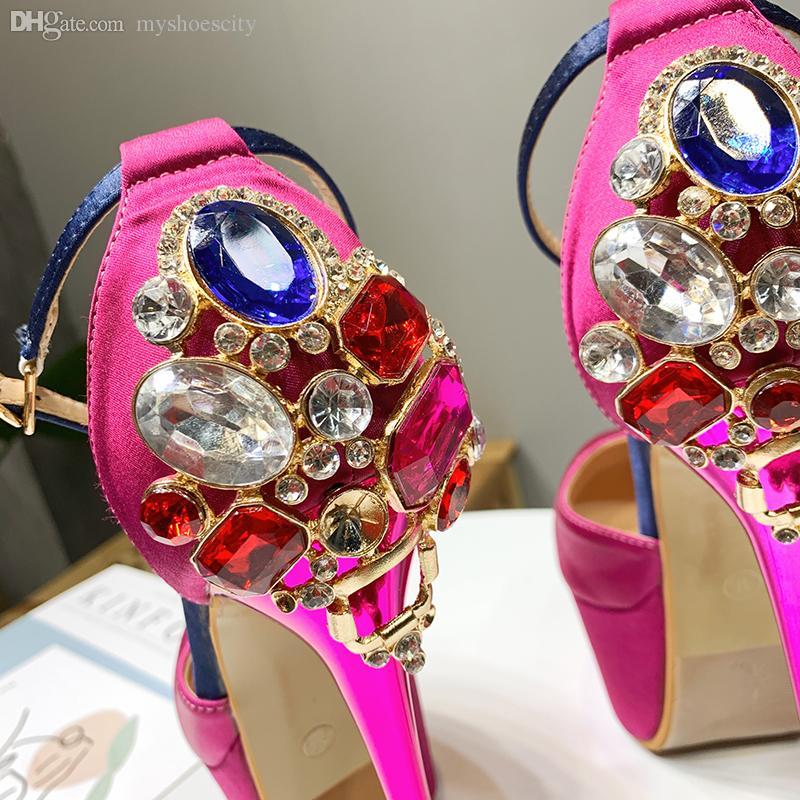 Rose pink black satin rhinestone wedding shoes 16cm platform ultra high heels prom gown dress shoes size 34 to 40