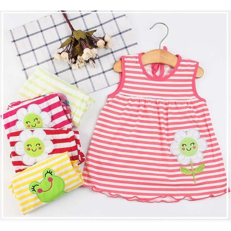 3Pcs New Baby Girls T-shirt Summer Newborn Baby Clothing Kids Tees T-Shirt Sleeveless Cotton Infant Cartoon Clothes 0-2T