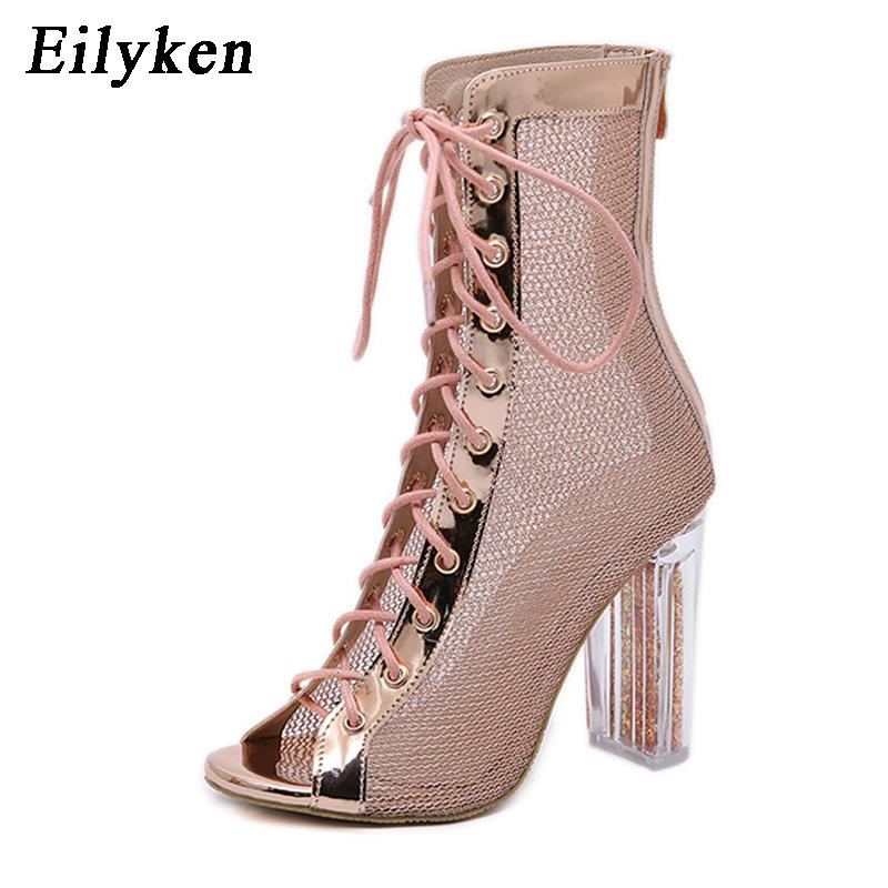 fbb5a0324c3 Eilyken Women Ankle Boots Heel Peep Toe Lace Up Cross Tied Transparent  Square Heel Ladies Boots Sandals Black Champagne Mens Chelsea Boots Black  Combat ...