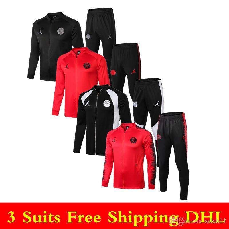 a53103b29dcd 2019 Best Sale New 18 19 PSG Jackets 2019 Jordom Paris Tracksuits Soccer  Jerseys MBAPPE Full Zipper Training Suit CAVANI Sportswear Soccer Pants  From ...