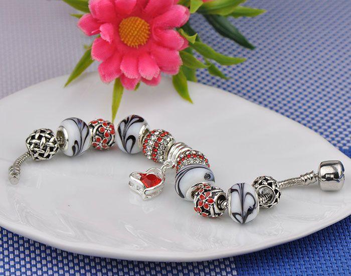 Designer Charm Bracelets Fit Pandora Women Silver White Murano Diamond Glass Beads Cuff Bracelets Bangle Crystal Beaded Pendant Jewelry P69