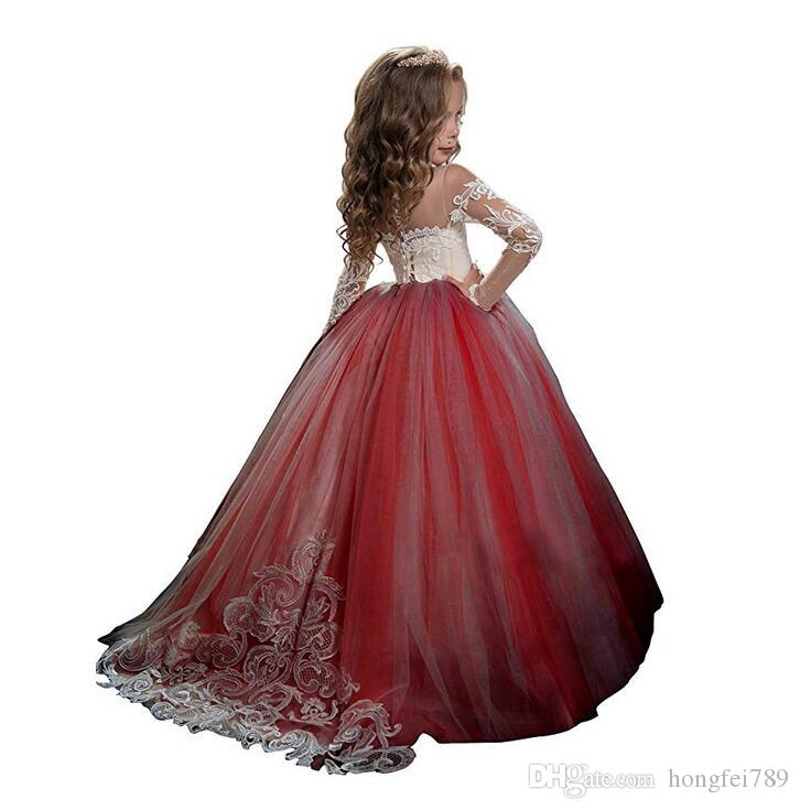 Lace Backless 2019 Cheap Flower Girl Dresses Cap Sleeves Baby Girl Birthday Party Christmas Communion Dresses Children Girl Party Dresses