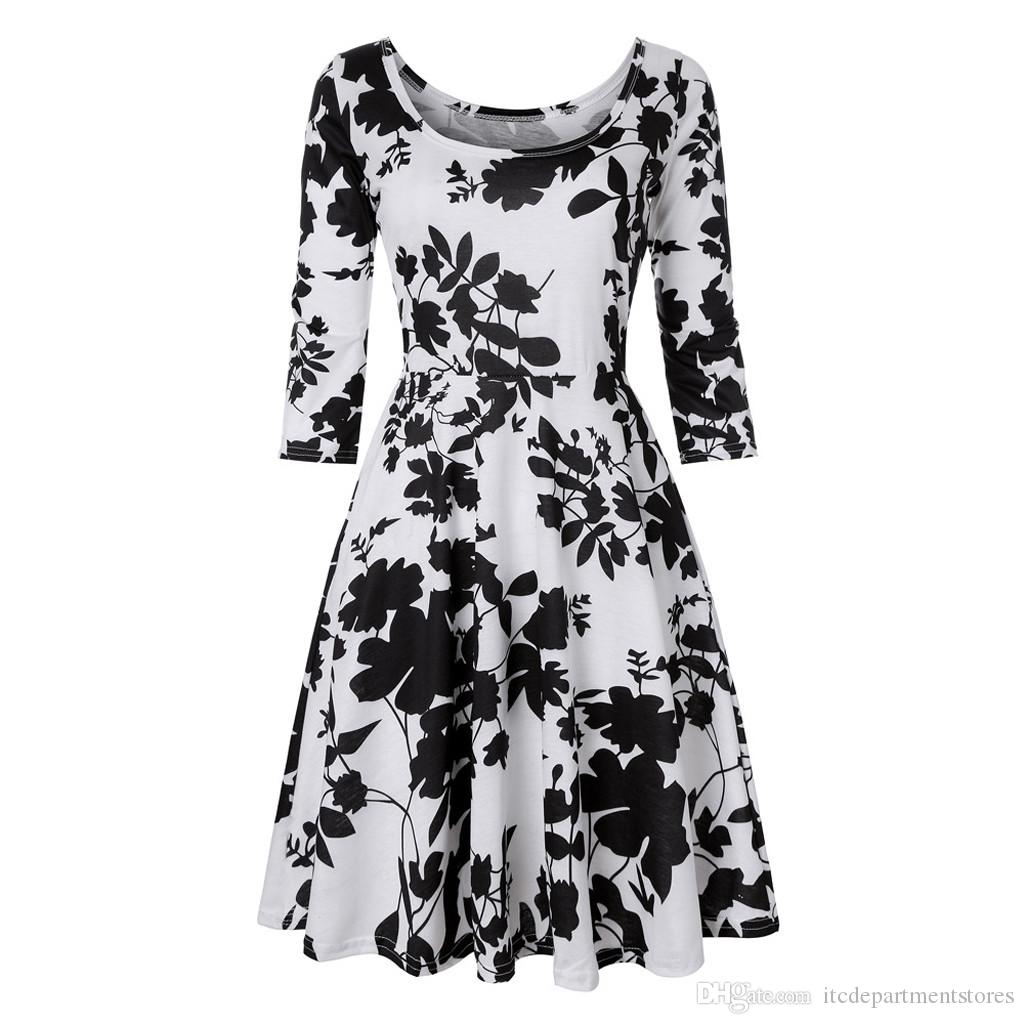 Plus Size Dress S-4XL Women Three Quarter Sleeve Printing Floral A Line  Dress Female Loose Casual Party Dresses vestidos