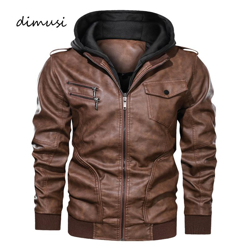 DIMUSI Men's Leather Jackets Casual Man Motorcycle Leather Hooded Coats Fashion Male Zipper Biker Jackets Clothing