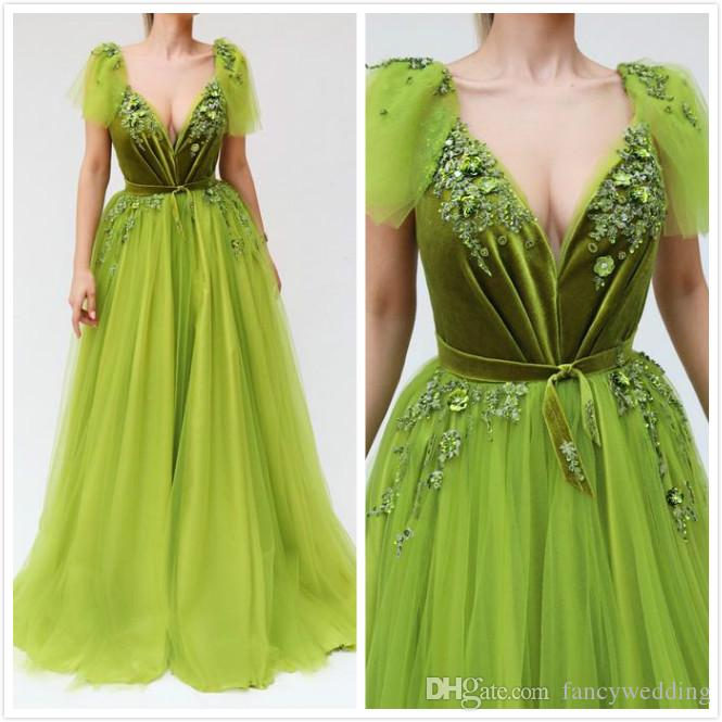 Green Lace Beaded 2019 African Evening Dresses Deep V-neck A-line Tulle Prom Dresses Cheap Formal Party Bridesmaid Pageant Gowns P94