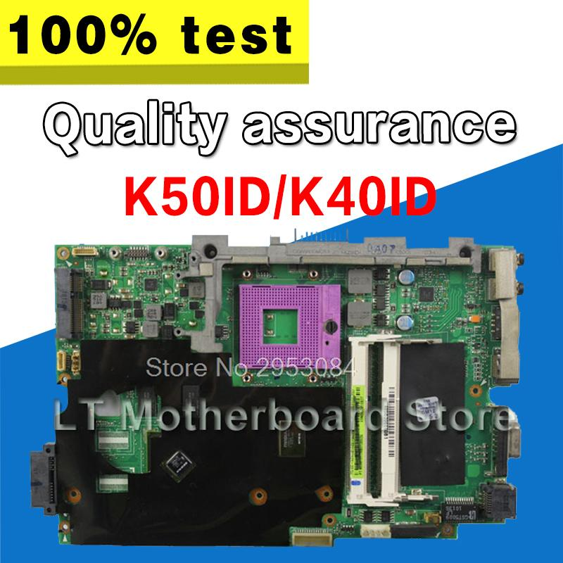 for Asus K50I K50IE X5DI K50ID K40ID board laptop motherboard 512M 4 Memory  60-NZ1MB1000-A03 69N0HUM10A03-01 mainboard tested