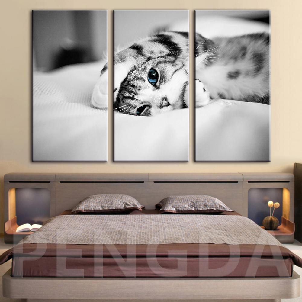 Canvas Painting Wall Art HD Prints Poster Home Decor Black and White Cat Animal Modern For Living Room Modular Pictures Framed