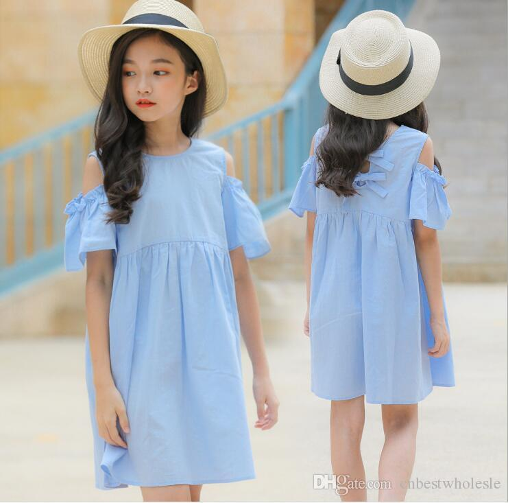 044ccded5e8 2019 Big Girl Fashion Off Shoulder Dress Teenager Cotton Ruffles Dress Kids  Clothing Junior Summer Casual Dress From Cnbestwholesle