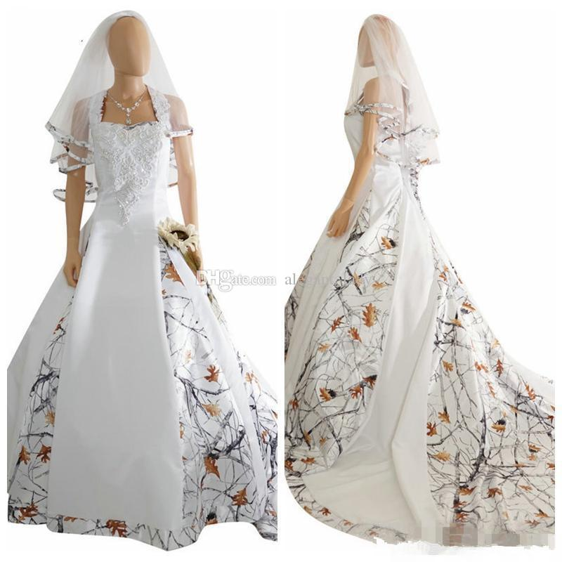 Vintage Camo Satin Wedding Dresses Custom Lace Appliques Lace Up corset Back Long Camouflage New Western Country Bohemian Bridal Dress