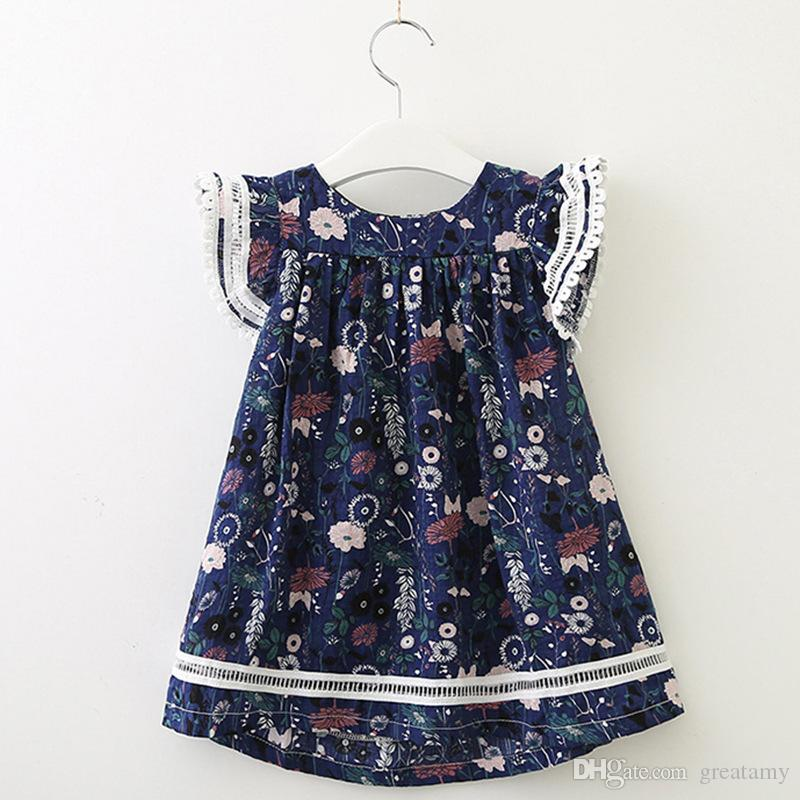 Baby girls floral Flying-sleeve Dresses kids cotton flower skirts children summer boutiques clothing very good quality