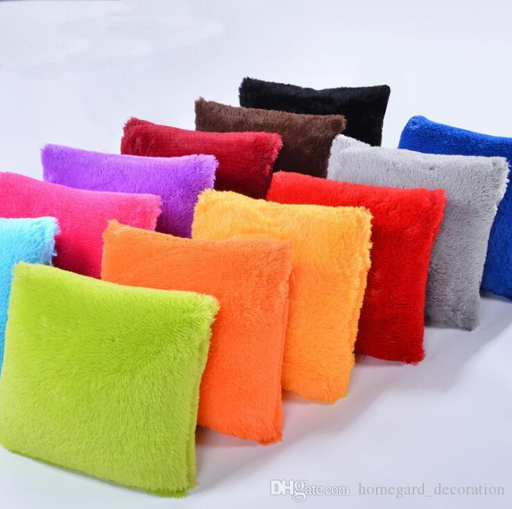 Plush pillowcase Plush solid color cushion pillow Size 43*43cm Many colors can choose DHL fast shipping