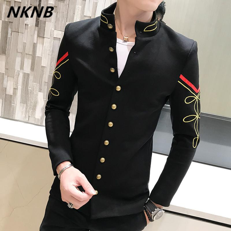 4 Color Gold Button Chinese Collar Suit Jacket Slim Fit Mens Blazer Pattern Army Pilot Jacket Men Black Blue Red White Blazer