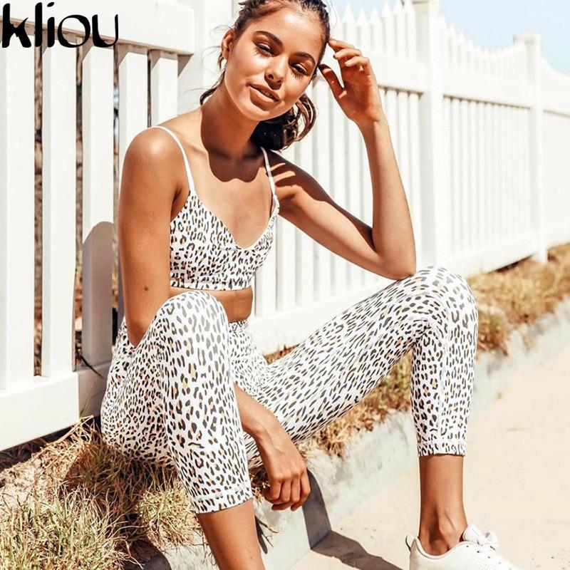 80a3537da7 Compre Kliou 2018 Novo Leopardo Sexy Camis E Leggings Aptidão Feminina Duas  Peças Push Up Sporting Calças Alças Esportivas Bra Tanksuit Q190416 De  Yizhan01
