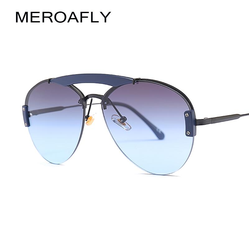 7814892f0e24 MEROAFLY Semi-Rimless Sunglasses Women Brand Classic Metal Big Frame ...