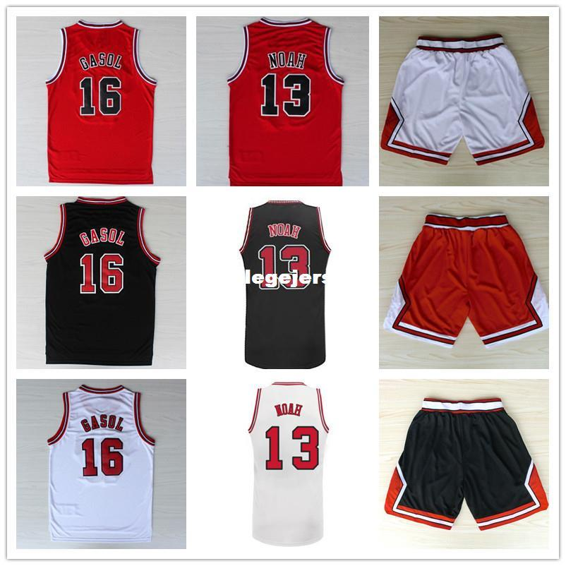 Pau Gasol #16 Joakim Noah #13 Basketball Jersey, Top Quality Stitched logos Men's Basketball Jersey Black Red And White Ncaa