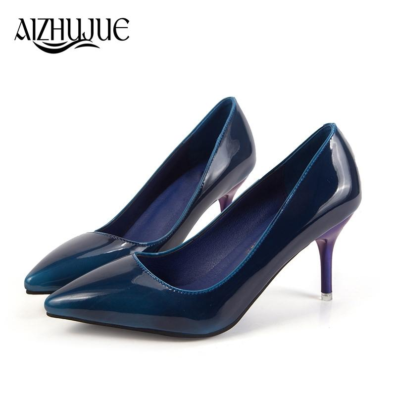 Acquista Designer Dress Shoes Women Pumps 2019 New Spring Autumn Fashion  Nero Blue Green Women Glossy Nude Pumps Tacchi Alti Lady Formal Shallow A   20.6 Dal ... b9505aab30f