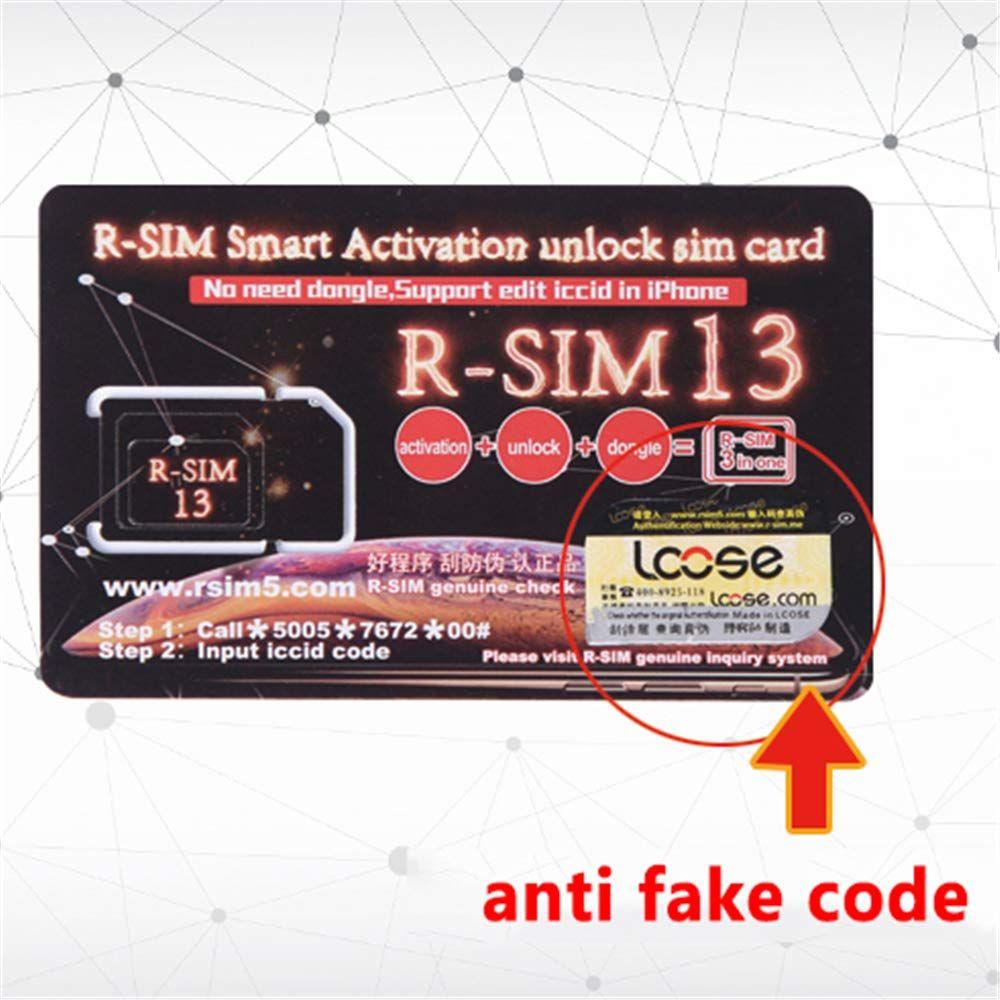 RSIM Unlocking Card R-SIM 13 SUP Unlock Card ICCID RSIM13 3 in 1 Smart  Activation Sim Card for iPhone Xs MAX XR 4G LTE ios11 12