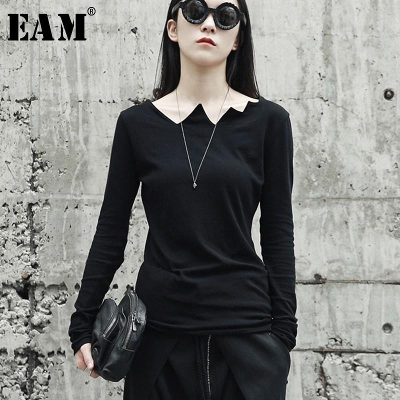 0c7a9a0537f4 EAM 2019New Spring Summer Black Long Sleeve Asymmetrical Collar Wild Slim  Bottoming Shirt Women Fashion Tide Tops LA922 Y18122101 Retro T Shirts  Tshirt ...