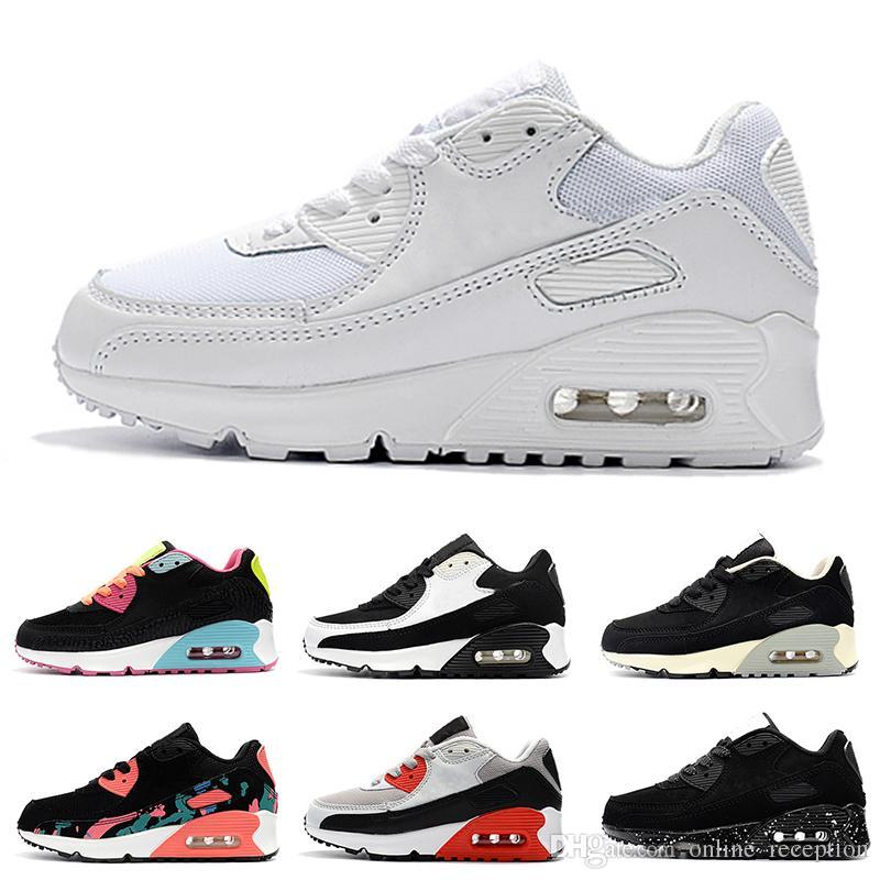 Nike air max 90 Chaussures enfants Enfants classique 90 vt Chaussures de course pour garçon et fille Noir Rouge Blanc Coussin Sportif Surface