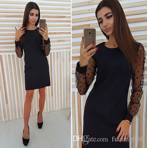 f523f25afd11 Fashion 01 Ms. Polka Dot Mesh Mosaic Dress 2018 Women S Casual Straight  Long Sleeve Autumn Dress Pink Casual Dresses For Juniors White Dress  Cocktail Party ...
