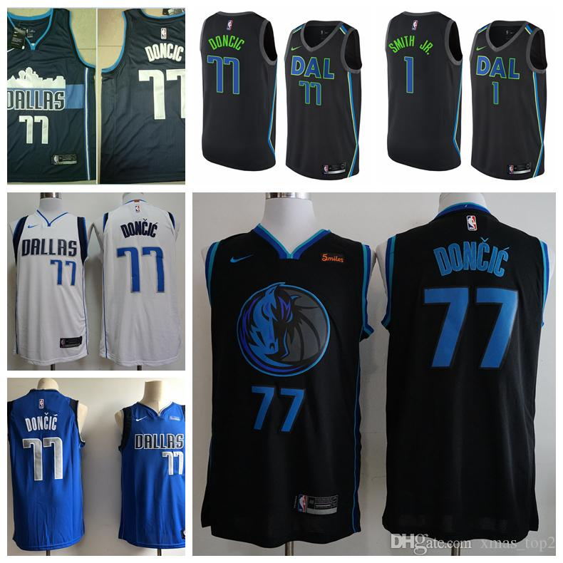 reputable site 1f839 7ae82 2019 Men Mavericks 77 Luka Doncic Basketball Jerseys Stitched Mavericks New  City Edition Luka Doncic 77 Basketball Jerseys Black White Blue