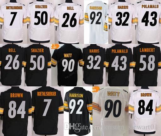 check out 66345 bffcc 7 Ben Roethlisberger jersey 28 Sean Davis 30 James Conner 32 Franco Harris  43 Troy Polamalu 50 Ryan Shazier 84 Antonio Brown 90 watt jersey