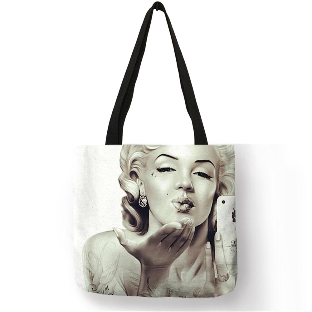19e5634463fd Designer Personalized Skull Tattoo Tote Bag For Women Lady Linen Bag With Marilyn  Monroe Print Eco Reusable Shopping Bags Folding Travel Purses On Sale Men  ...