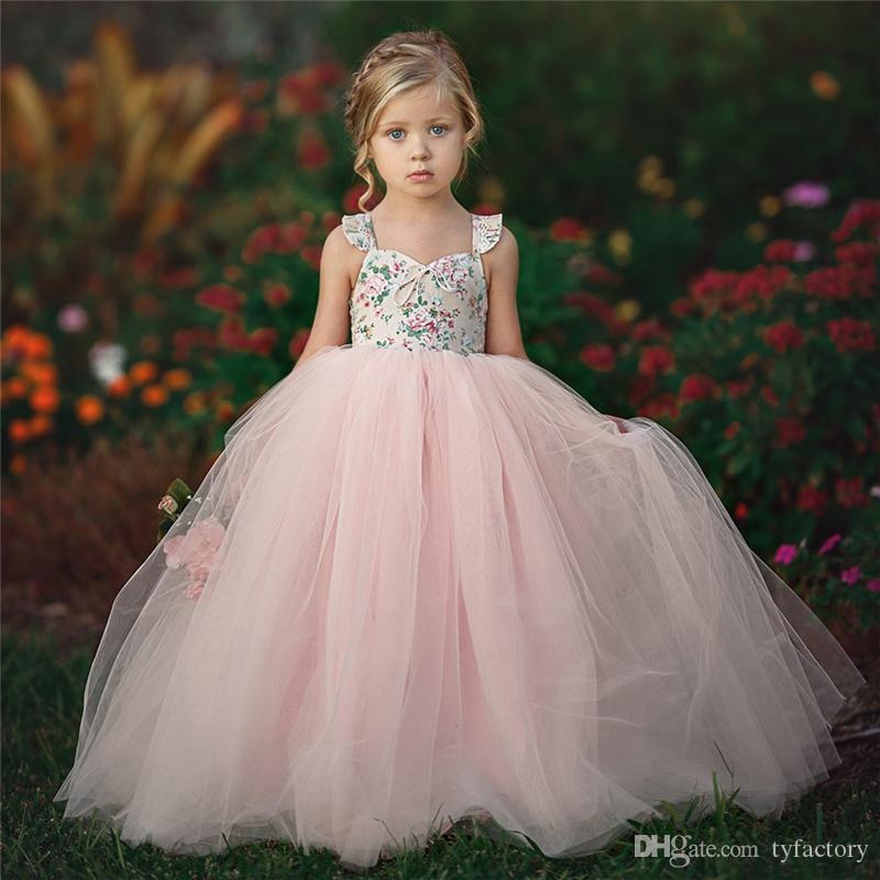 save off c4e05 a0844 Kinder Mädchen rosa Blume Tutu Kleider Taufe Spitzenkleid Hochzeit Parade  Kinder Mädchen Prom Kleid süße Blumenkostüm Kleidung