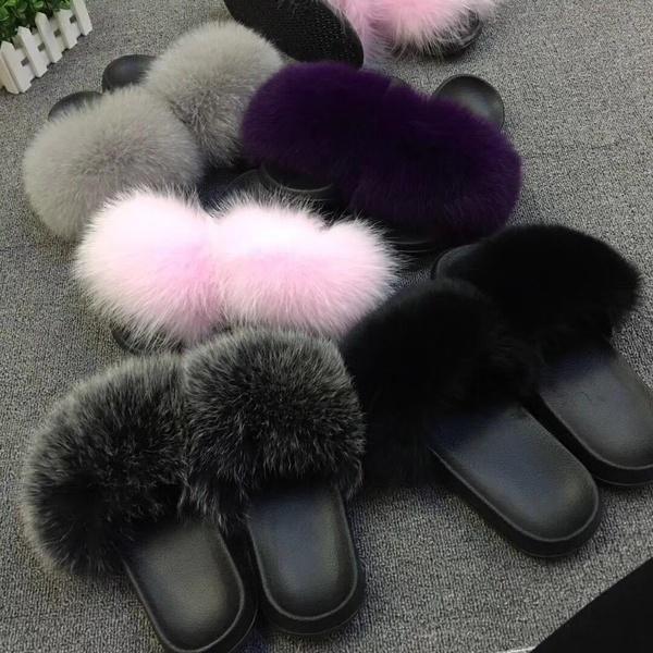 f89549b21 Woman Lady Real Fox/Raccoon Fur Slipper Slades Slider Indoor Outdoor ...