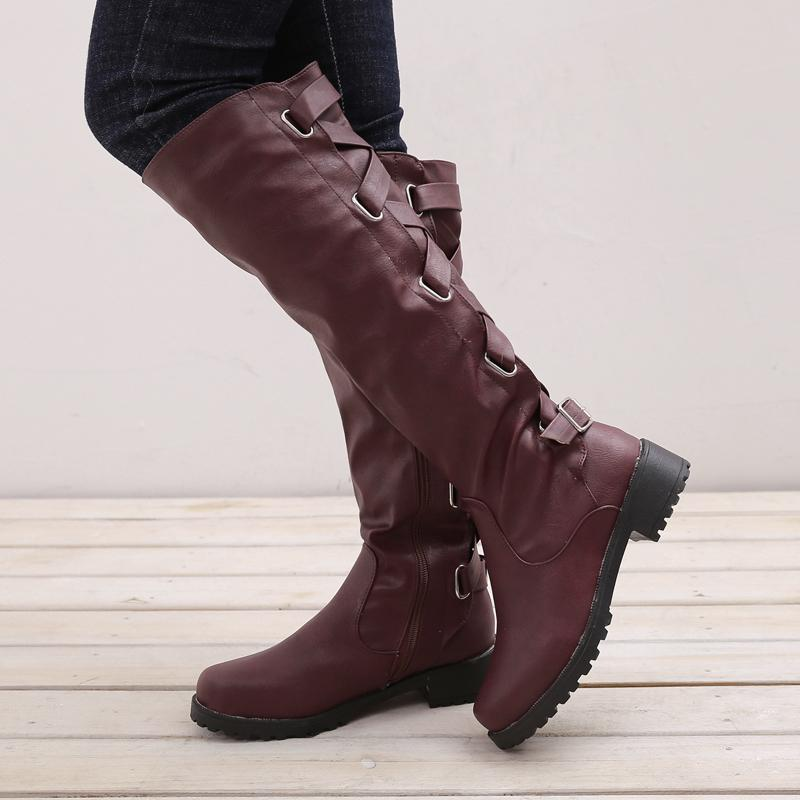 Women high boots 2018 fashion buckle over-the-Knee boots zipper motorcycle platform women winter shoes plus size 35-43