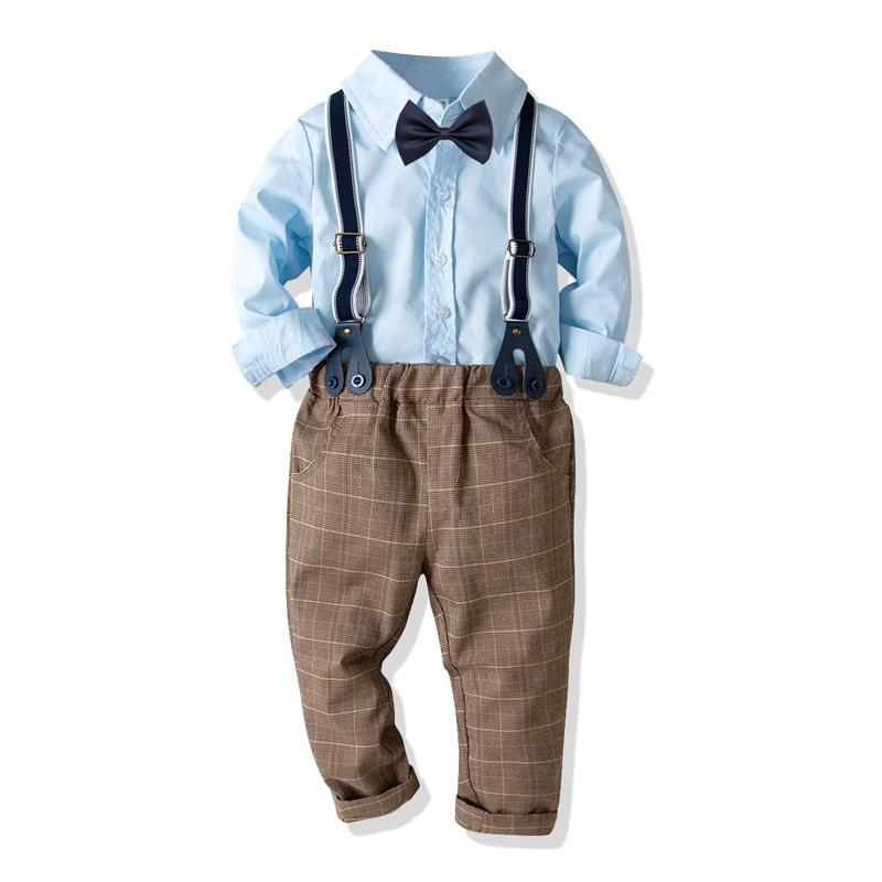 cb49cff43 2019 Toddler Boys Clothes Set Light Blue Solid Color Shirt With Bow ...