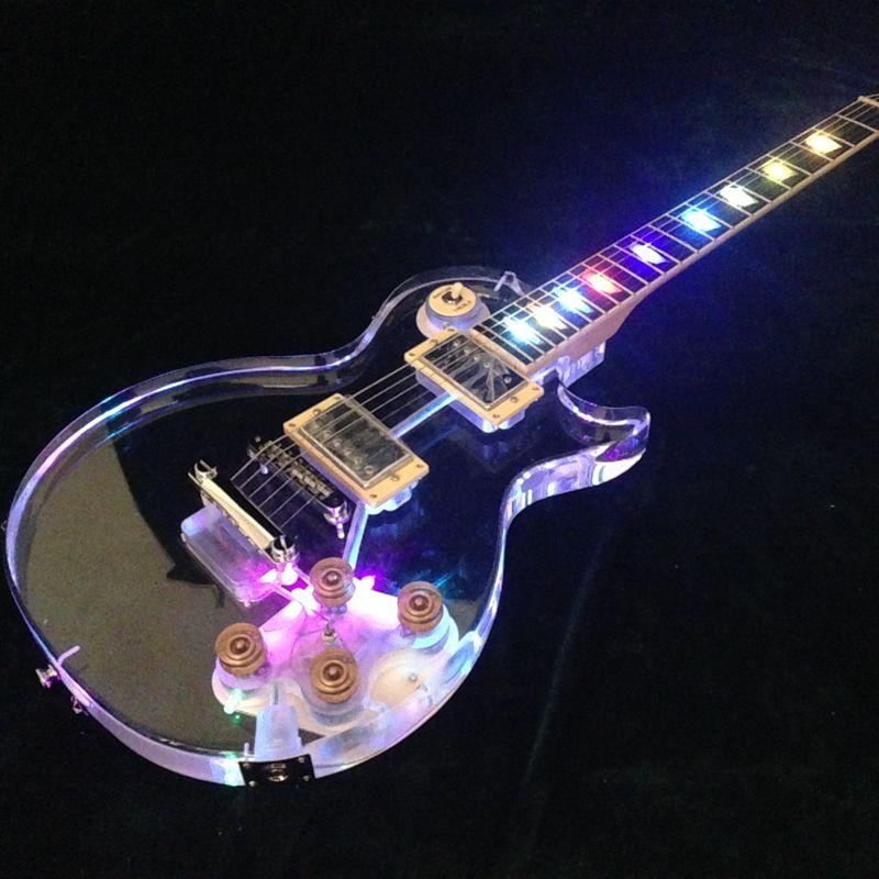 Lp LED Electric Guitar More Color Can Choose Acrylic Body 22 Frets Gold Hardware New Desugn