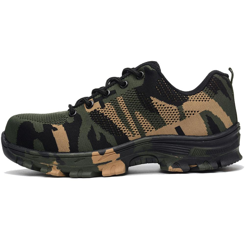2019 Outdoor Work Shoes Men Camouflage Breathable Hiking Shoe Steel