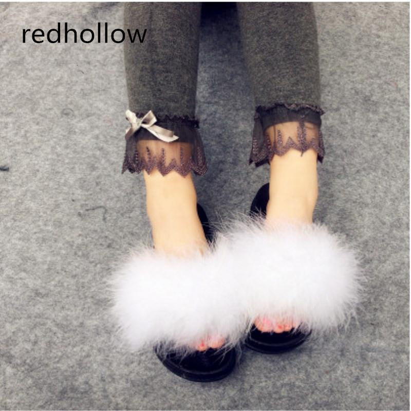 92726d5df082 2019 Fur Slide Flip Flops Women Ostrich Feather Home Slippers Female Sweet  Fenty Wedges Sandals Beach Pantufa Platform Chinelo Slipper Boots Slipper  Socks ...