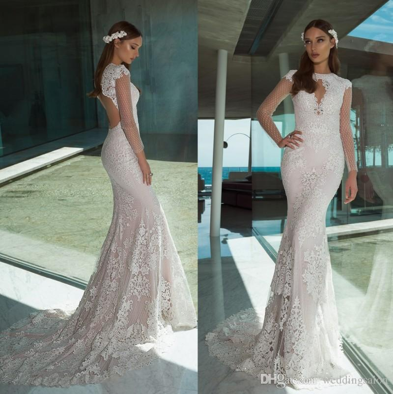 Fashion Mermaid Lace Backless Wedding Dresses Jewel Neck Sequined Bridal Gowns Trumpet Sweep Train Long Sleeves Plus Size robe de mariée