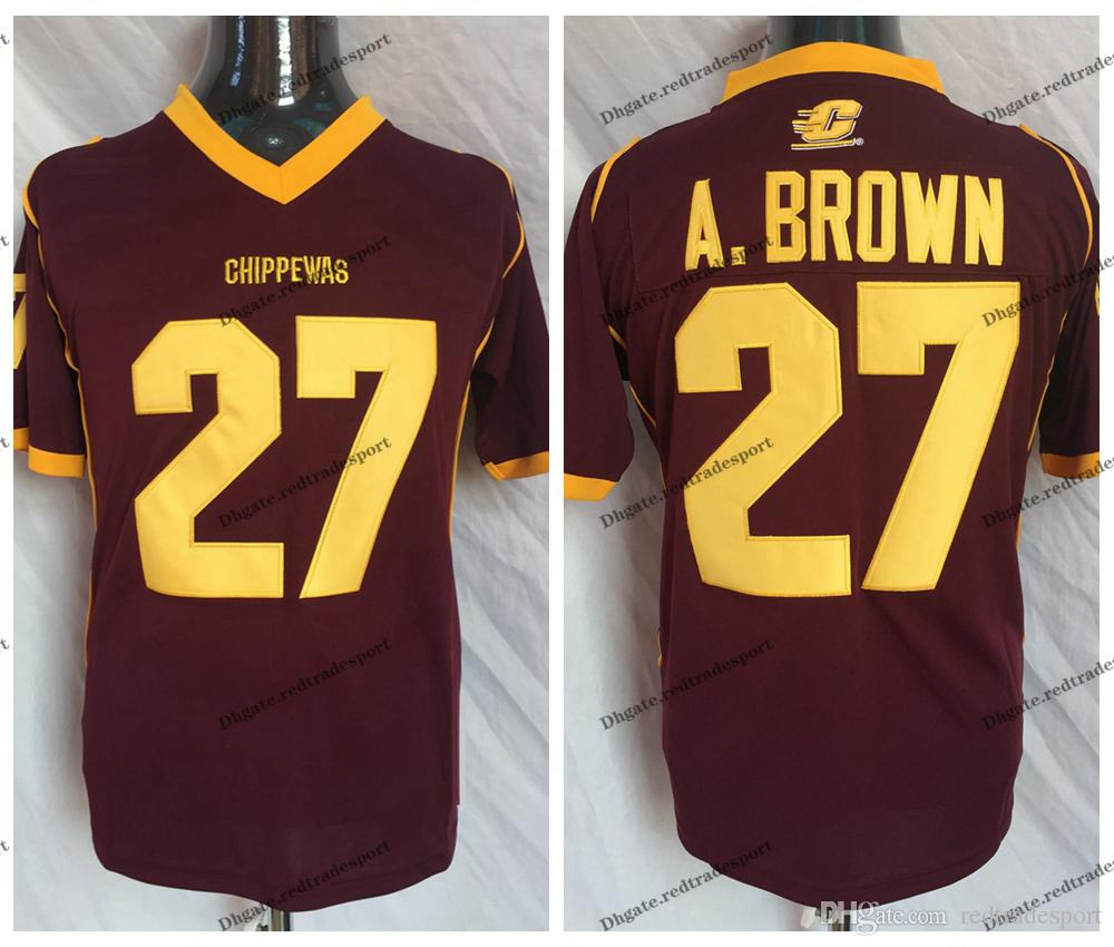 differently f919a d3c76 Vintage Central Michigan Chippewas Antonio Brown College Football Jerseys  #27 Antonio Brown A. Brown University Football Shirts