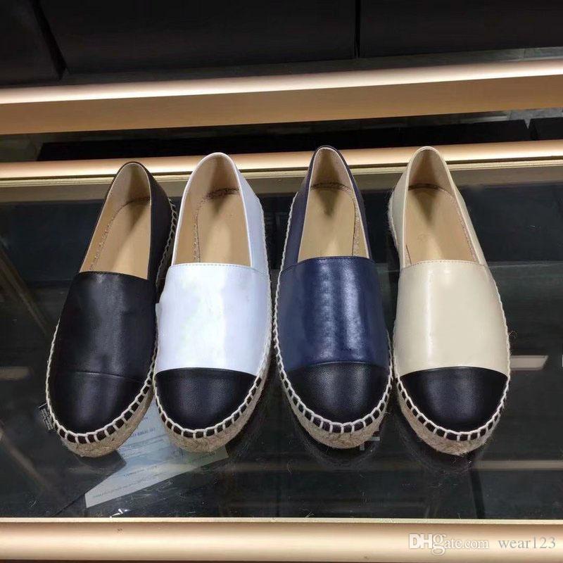 2e25a5ce Marca de lujo Alpargatas Cordón de Cuero Genuino Plataforma Alpargata de  Las Mujeres Pisos Mocasines Zapatos Cuñas Moda Damas Sandalias Casuales ...