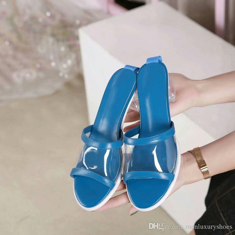c99b8b92b6a 2019 Top Quality Colourful Mules Slippers Luxury Brand Designer Slippers  Mules PVC   Lambskin Women Low Heel Fashion Shoe Size 35 41 Withbox Riding  Boots ...