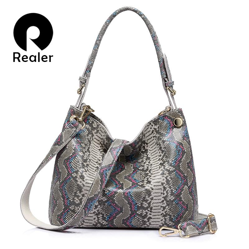 Realer Brand Genuine Leather Handbags Women Serpentine Prints Large Shoulder Bag Classic Top-handle Bag Female Crossbody Bags J190613