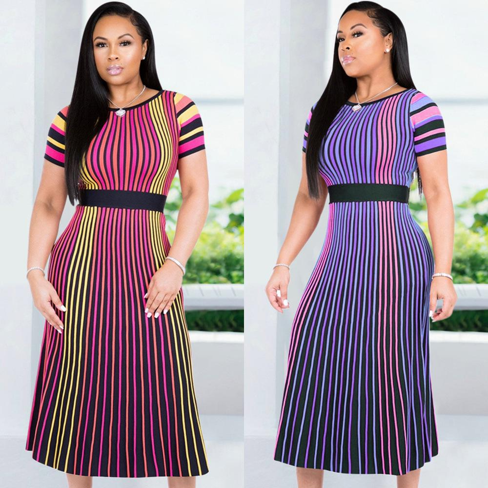 Spot! K8733 Women's high-end sexy European and American color stripes Short sleeves Round neck slimming long skirt