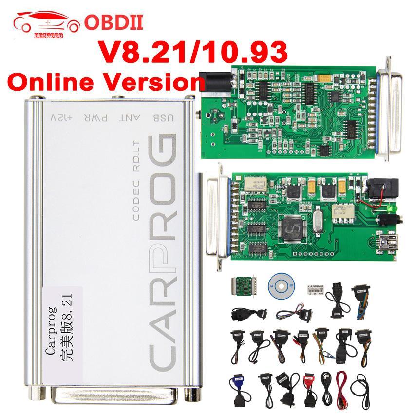 Carprog V8 21 V10 93 ECU Chip Tuning Tool Full 21 Adapters Car Prog  Programmer ECU Tester For Airbag/Radio/IMMO/OBD2 Repair Tool