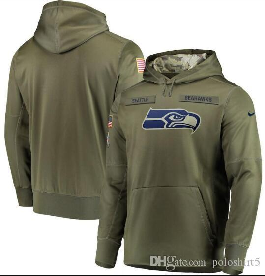 Sudadera Seattle para hombre 2019 Seahawks Salute to Service Sideline Therma Performance Sudadera con capucha verde oliva