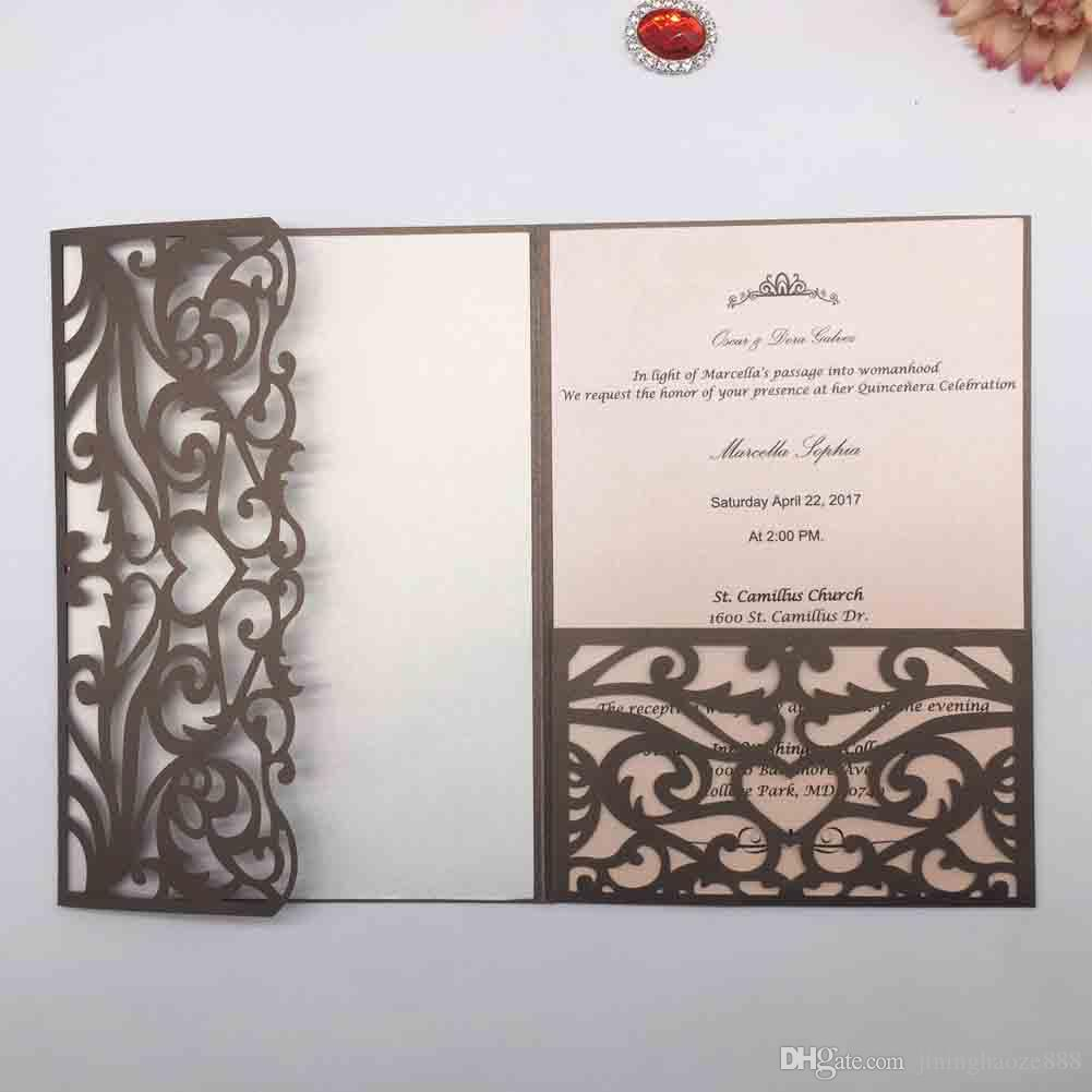 20PCS /lot Hollow Laser Cut Pearl Paper Exquisite European Style Wedding Invitation Cards Business Party Invitations Gift Cards Supplies