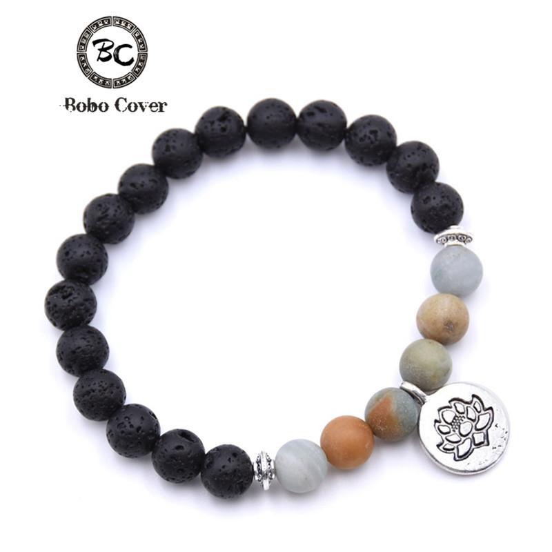 Bobo Cover Natural Stone Lotus Buddha Beads Bracelet Matte Amazonite Mala Beads bracelets bangles For Women Yoga Charm bracelet