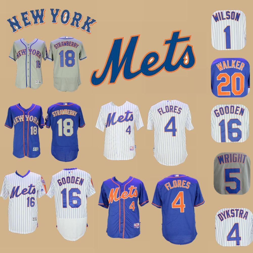 reputable site 3524e 04bc3 New York Dwight Gooden Jersey Mets Darryl Strawberry Wilmer Flores David  Wright Dykstra Neil Walker Mookie Wilson Keith Hernandez Jerseys