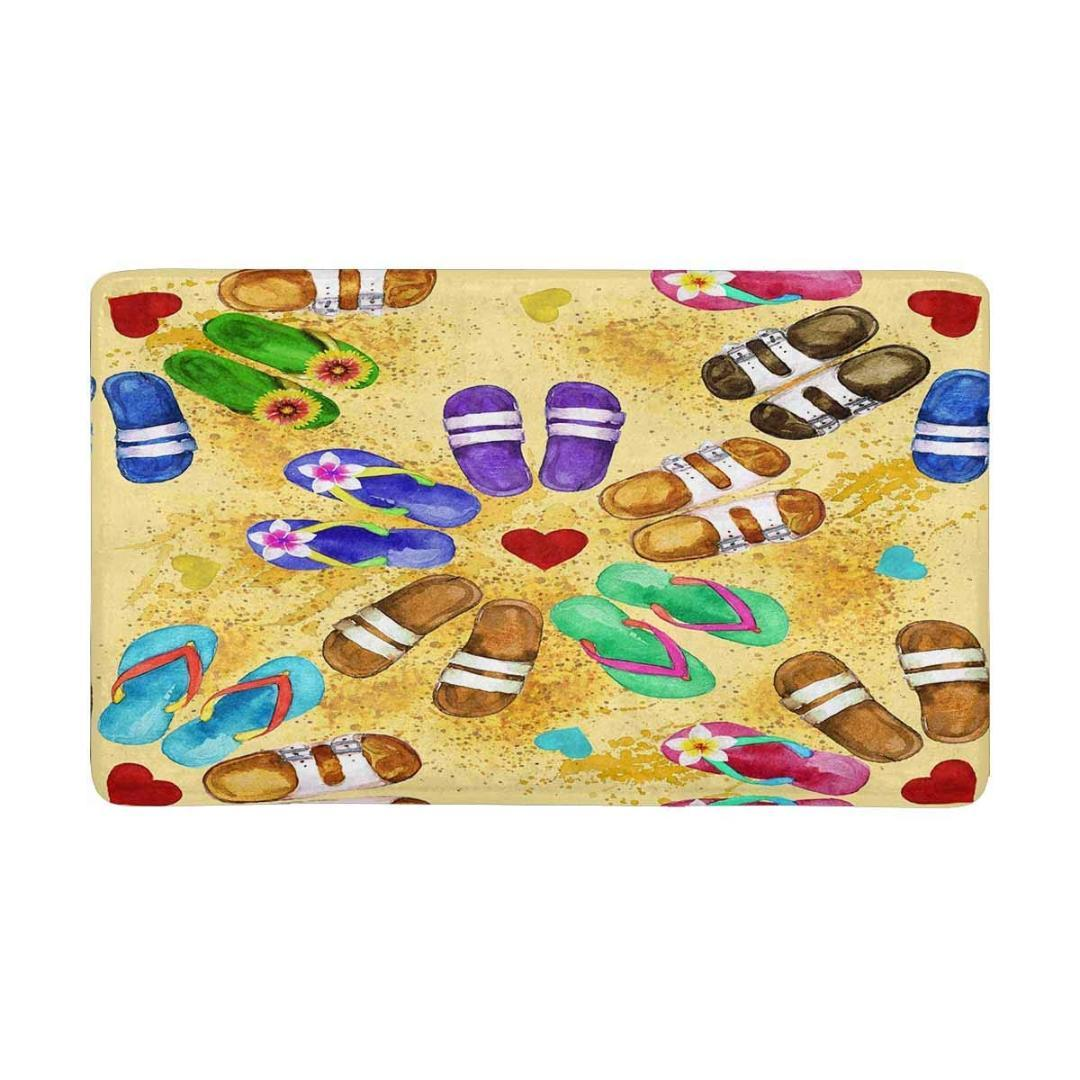 6e989331324a Flip Flops Watercolor Indoor Doormat Non Slip Front Entrance Door Mat Rug  Hall Mat Entrance Namaste Kitchen Set Replacement Outdoor Cushion Covers  Outside ...