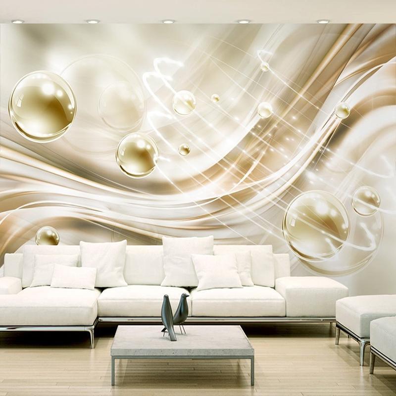 Benutzerdefinierte Fototapete 3D Goldener Kreis Ball Streifen Moderne  Europäische Stil Schlafzimmer Wohnzimmer TV Hintergrund Wandbild Wandmalerei