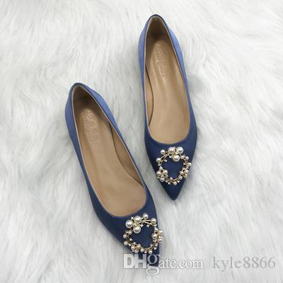 a78897b6aefe6 Square Buckle Rhinestone Single Shoes Female Flat Bottom Low Heel Pointed  Autumn New Shallow Mouth Bridal Wedding Shoes Moccasins For Men Suede Shoes  From ...